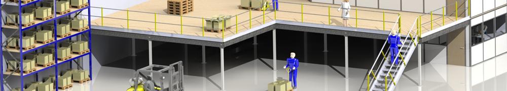 plan 3d mezzanine métallique